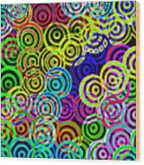 Neon Swirls Wood Print