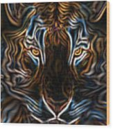 Neon Tigress Wood Print