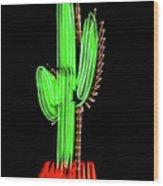 Neon Tucson Cactus Wood Print