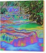 Neon Waterfalls Wood Print