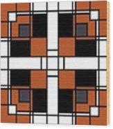 Neoplasticism Symmetrical Pattern In Tijuna Gamboge Wood Print