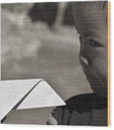 Nepal Paper Airplane Child Wood Print