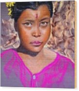 Nepalese Girl Wood Print
