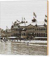 Neptune Casino And Onion-domed Bandstand, Santa Cruz Beach Circa 1904 Wood Print