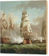 Neptune Engaging Trafalgar Wood Print by J Francis Sartorius