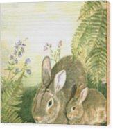 Nesting Bunnies Wood Print