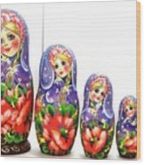 Nesting Doll Poppies Wood Print