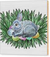 Nesting Easter Bunny Wood Print