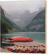 Nestled Boat Launch Wood Print