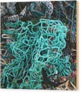Netting And The Sea Wood Print
