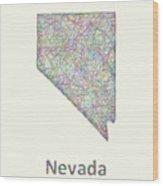 Nevada Line Art Map Wood Print