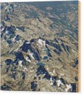 Nevada Mountain Terrain Aerial Lakes Wood Print