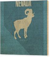 Nevada State Facts Minimalist Movie Poster Art Wood Print
