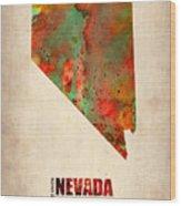 Nevada Watercolor Map Wood Print