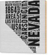Nevada Word Cloud 3 Wood Print