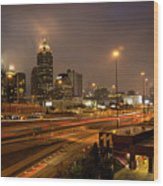 Never Sleeping Atlanta In Motion Midtown Light Trails Art Wood Print