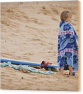 Never Too Young To Surf Wood Print by Denis Dore