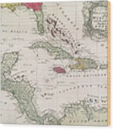 New And Accurate Map Of The West Indies Wood Print by American School
