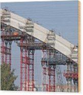 New Bridge Concrete Arc Construction Site Wood Print