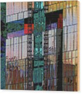 New Building Reflecting Colors Wood Print