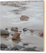New England Beach With Rocks And Waves Wood Print