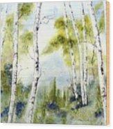 New England Birches Wood Print