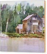 New England Boat Repair Wood Print