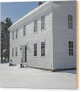 New England Colonial Home In Winter Wood Print