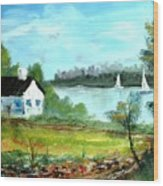 New England Cottage Wood Print