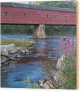 New England Covered Bridge Connecticut Wood Print