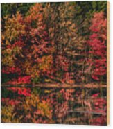 New England Fall Foliage Reflection Wood Print
