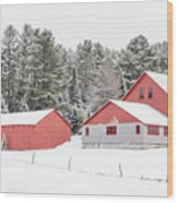 New England Farm With Red Barns In Winter Wood Print