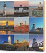 New England Lighthouse Collage Wood Print