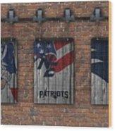 New England Patriots Brick Wall Wood Print