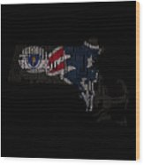 New England Patriots Typographic Map 03 Wood Print