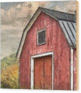New England Red Barn Pencil Wood Print