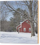 New England Red House Winter Wood Print