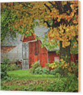New England Rustic - New England Fall Landscape Red Barn Wood Print