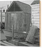 New England Wharf Scene In Black And White Wood Print