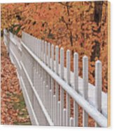 New England White Picket Fence With Fall Foliage Wood Print