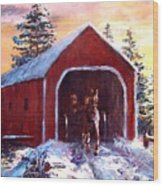New England Winter Crossing Wood Print