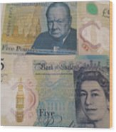 New Five Pound Notes Wood Print