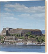 new fortress and port Corfu town Greece Wood Print