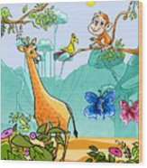New Friends In The Jungle Wood Print