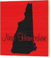 New Hampshire In Black Wood Print