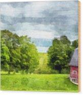 New Hampshire Landscape Red Barn Etna Wood Print
