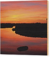 New Hampshire Salt Marsh At Sunrise Wood Print