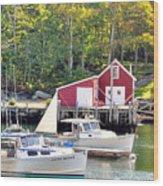 New Harbor Wood Print