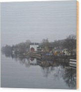 New Hope River View On A Misty Day Wood Print