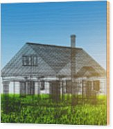 New House Wireframe Project On Green Field Wood Print